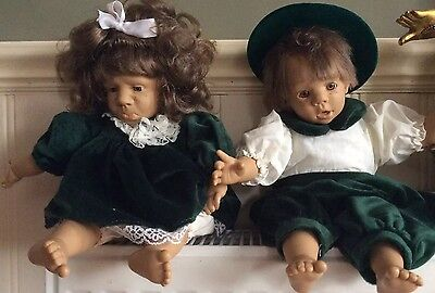 """Two Expression Dolls Boy And Girl  17"""""""