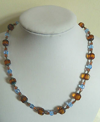 Amber and blue glass vintage crystal necklace