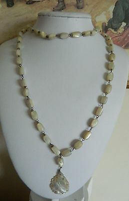 Antique mother of pearl bead necklace