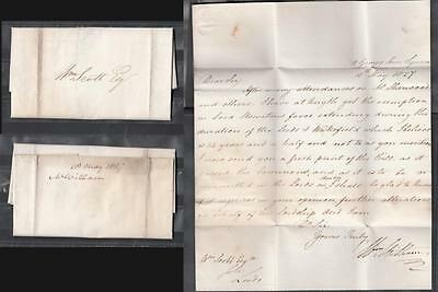 1827 Pre-Stamp Folder One Page Letter Posted To Leeds ( For Condition See Scan )