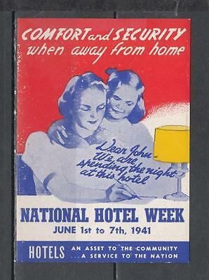 1941 National Hotel Week Poster Stamp Unmounted Mint Full Gum ( For Condition Se