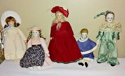 """Family of Five Vintage Porcelain Dolls 7-9"""" Tall"""