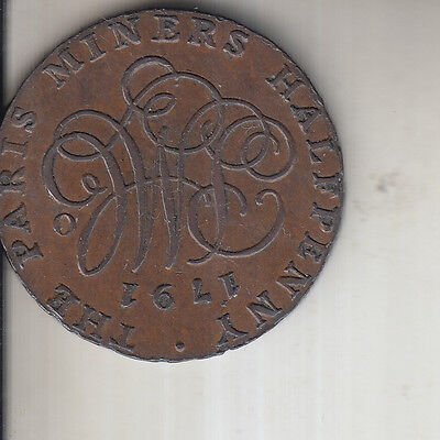 1791 Half Penny Token Anglesey Mines Paris Miners Token