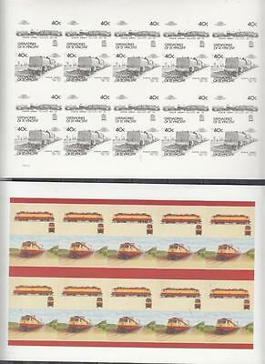 Grenadines Of St Vincent Printers Proof Two Full Sheets Locomotives All Unmounte
