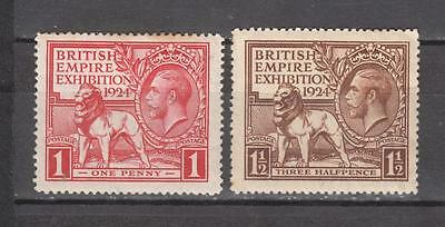 King George V 1924 British Empire Exhibition Full Set Sg 430 + 431 1d Mounted Mi