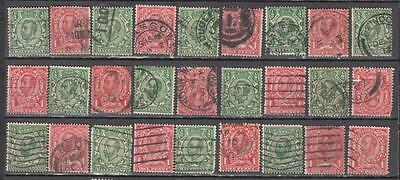 King George V Downy Heads 1/2d + 1d 27 In Total Unchecked All Used The Will Be S