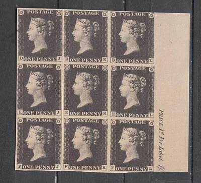 "Queen Victoria 1840 1d Blacks Facsimile Block Of 9 With ""Nachdruck"" (Facsimile)"