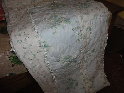 Simply Shabby Chic Blue Floral British Rose Ruffled Full/queen Quilt 90 X 94