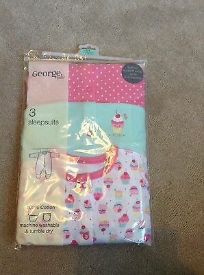 Baby Girls Cupcake Patterned Baby Grows Age 0-3 Months Bnwt