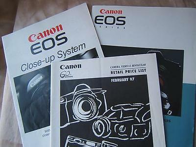CANON EOS 1995 + CLOSE UP SYSTEM booklets + PRICE LIST 1997 cameras Photography