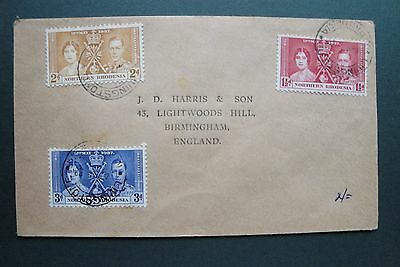 Northern Rhodesia 1937 Coronation Stamps set on cover