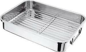 42cm x 33cm Stainless Steel Roasting Pan Baking Tray Tin with handles and rack