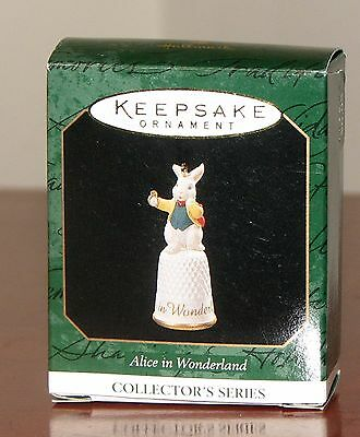 "Hallmark Miniature Ornament ""Alice in Wonderland"" White Rabbit Dated 1997 MIB"