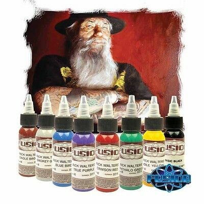 "Fusion Tattoo Ink ""Rick Walters"" Signature Palette 8 Color 1 Oz Professional Set"