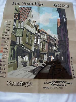 The Shambles Village Street Needlepoint Canvas Penelope Made In England -Started