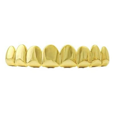 Grillz 24K New 8 Tooth Gold Plated Top Fancy Dress Hiphop Bling + Free Gold Cap