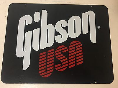 """Gibson USA GUITARS Advertising Sign 15"""" x 11"""" Double Sided Free Ship!"""