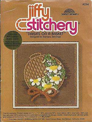 VINTAGE 1980 #214 DAISIES ON A BASKET SUNSET JIFFY CREWEL EMBROIDERY KIT 5 x 5