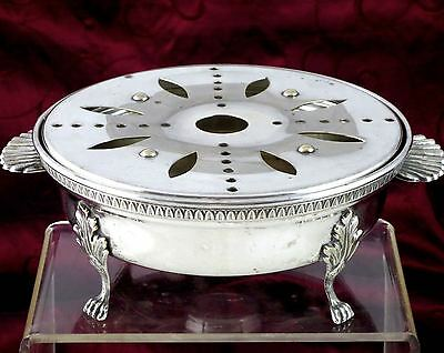Charming Antique 3pc FRENCH Silverplate WARMER STAND WARMING CHAFING DISH