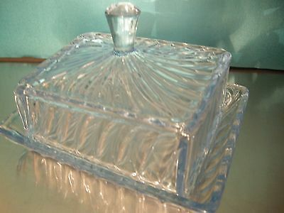 Beautiful Vintage Blue Glass Butter or Cheese Dish