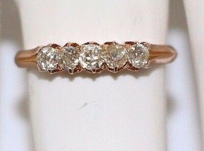 Genuine Vintage 18k Gold ring with 5 beautiful old cut diamonds