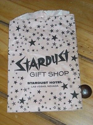 Vintage Stardust Casino gift shop bag Las Vegas Casino paper bag PINK with stars