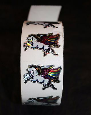 Vtg Flying Horse Pegasus Sticker Decal Prism Cutout Rainbow Wings Roll 17 Lot