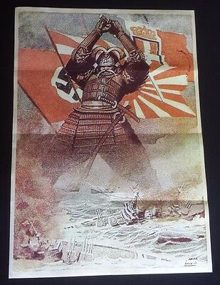 1942 Ww2 Japan Japanese Samurai Shogun Ship Army Nazi War Flag Propaganda Poster