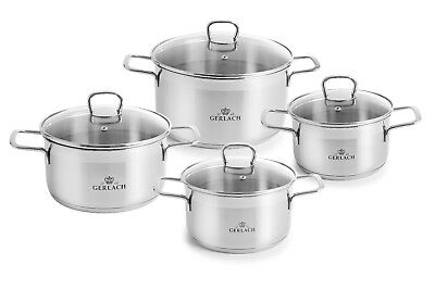 Gerlach Brava 8 Elements Cookware Pot Set With Lids 18/10 Stainless Oven Safe