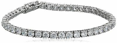 Platinum-Plated Sterling Silver and Cubic Zirconia Tennis Bracelet 7 inches