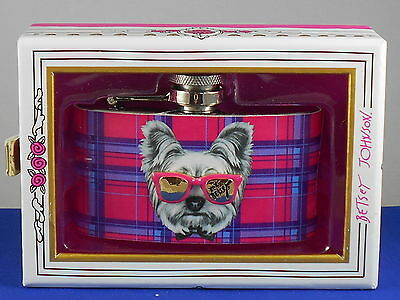 Betsey Johnson GIFTING Pink Plaid Dog With Sunglasses Flask Boxed B11538-F01 $35