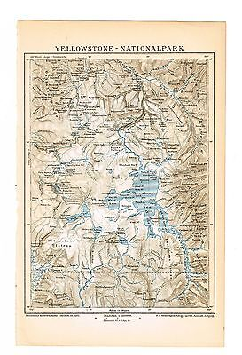 1895      YELLOWSTONE NATIONAL PARK      MAP  Original Print