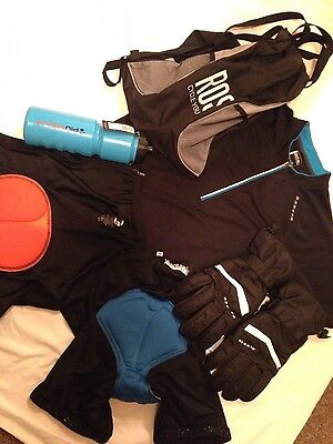 Cycle bundle. 2X cycle shorts, jersey, water bottle, back pack. Dare2b + Helmet.
