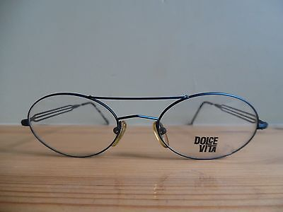 *Dolce Vita Double Brow Electric Blue Unique Oval Eye Glasses C-03 48/20 DV-A1