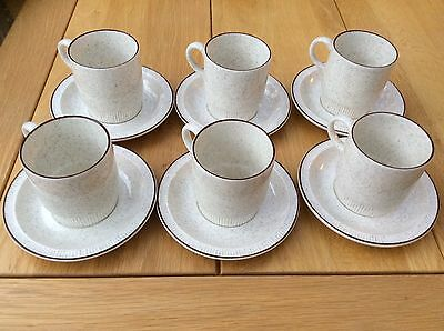 Six Lovely Poole Coffee Cups And Saucers
