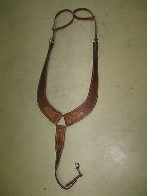 Used horse tack Y cut pulling breast collar saddle heavy oil