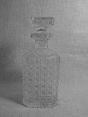 Vintage Square  Crystal Liquor  Brandy Whiskey Decanter Square Top Stopper