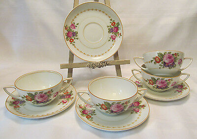 Rosenthale Selb Bavaria AIDA Roses Four (4) Sets Bouillon Cups & Saucers