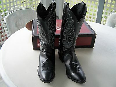 Black Milano Leather Cowboy Boots Size 8 1/2D Nocona Justin Classic New In Box