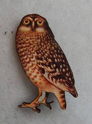 Brown Owl Brooch or Scarf Pin Accessories, Jewelry Fashion Accessories Wood