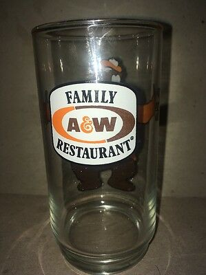 A & W root beer Bear Family Restaurant glass ADVERTISING SIGN soda pop