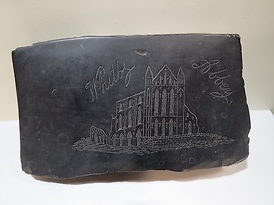 Whitby Abbey Raw Jet Engraved Chunk Antique Artifact