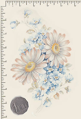 """1 x White Daisies Floral Waterslide ceramic decal. Approx 7 1/2"""" x 5""""  PD864/"""