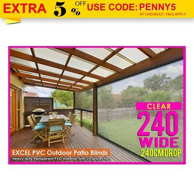 NEW 240CM X 240CM HEAVY DUTY PVC CLEAR PATIO BLIND Outdoor CAFE UV Protect