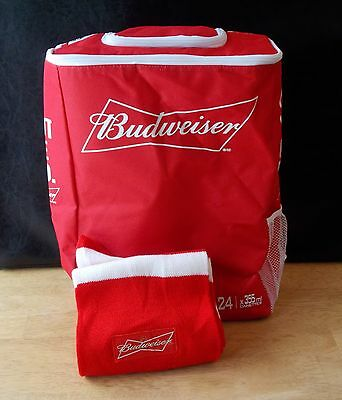 Budweiser Soft-Side Insulated Beer Beverage Thermal Cooler Bag Backpack w/ Scarf