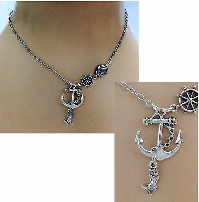 Silver Ship's Anchor & Mermaid Pendant Necklace Jewelry Handmade NEW Chain