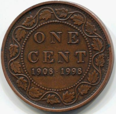 1908-1998 CANADA UNC PROOF STERLING SILVER ONE CENT Coin - Matte finish