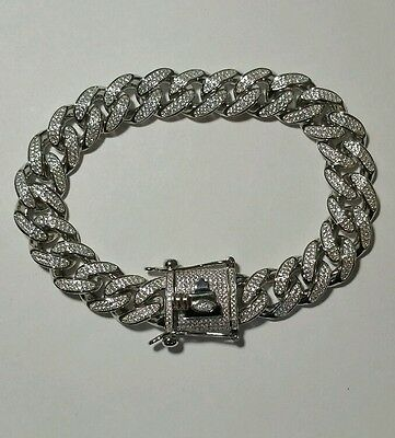 925 STERLING SILVER ICED OUT MIAMI CUBAN LINK BRACELET 8.5inch 13MM 69 grams