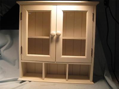 White Shadow Box/Cabinet with Glass in Doors