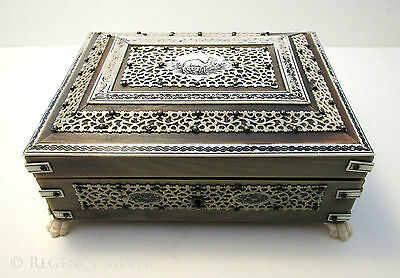 Anglo Indian VIZAGAPATAM Buffalo Horn Table Trinket Cigarette Cigar Box Casket